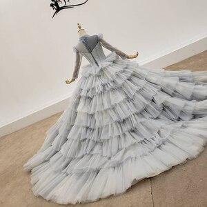 Image 3 - HTL1381 אפור שכבות ערב שמלות למעלה ושרוול עם שקוף חרוז ערב שמלת תחרה עד שמלת ערב בתוספת גודל Sukienki