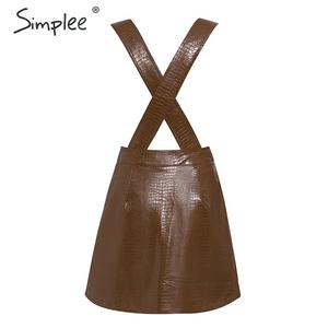Image 4 - Simplee נשים פו עור שמלת Streetwear PU רך בעלי החיים הדפסת סרבל סתיו שמלת סרבל גבוה מותניים גברת רצועת מיני שמלה
