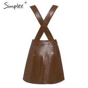Image 4 - Simplee Women faux leather dress Streetwear PU soft animal print overalls autumn dress Overalls high waist lady strap mini dress