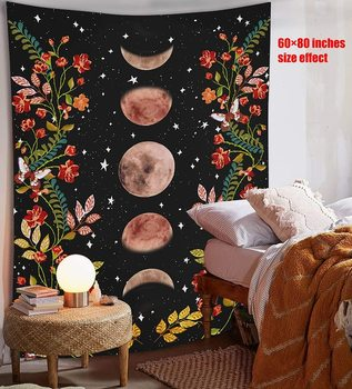 Psychedelic Moon Starry Tapestry Flower Wall Hanging Room Sky Carpet Dorm Tapestries Art Home Decoration Accessories