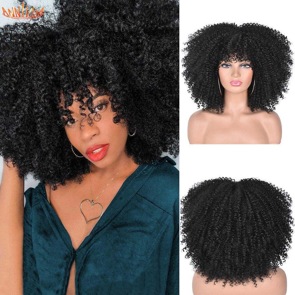 """Cheveux courts Afro crépus bouclés perruques avec frange pour les femmes noires africain synthétique Ombre sans colle Cosplay perruques haute température 14"""""""