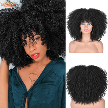 Kinky Curly Wigs Bangs Hair-Afro Short Ombre Glueless High-Temperature Synthetic Black-Women
