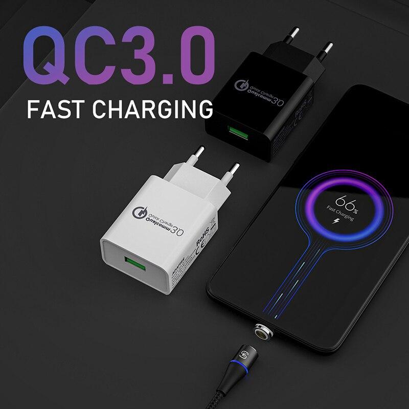 Cargador Android, adaptador de teléfono para iphone USB tipo C, enchufe de la UE, cable de carga rápida magnética SIKAI QC 3,0 9V 2A 12V 1,5a 5V 3A 4,0