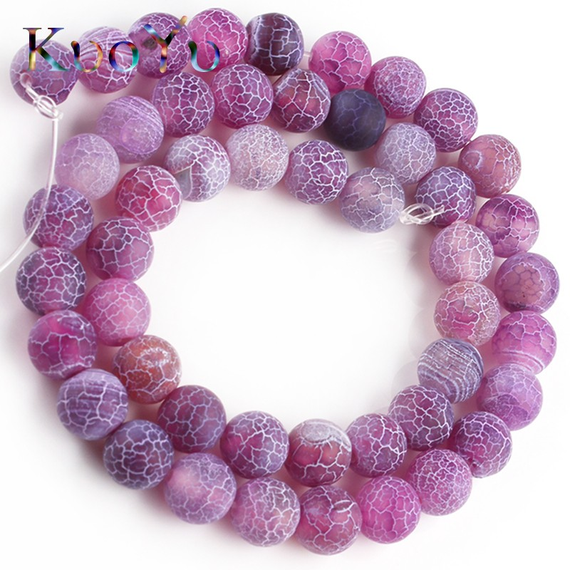 Natural Stone Matte Purple Cracked Dream Fire Agates Dull Polish Spider web Onyx Beads For Jewelry Making DIY Bracelet 6/8/10mm