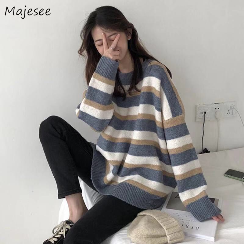 Sweaters Women New Warm High Quality Loose Students Streetwear Harajuku Womens O-neck Korean Style Fashion Couple Knitted Casual