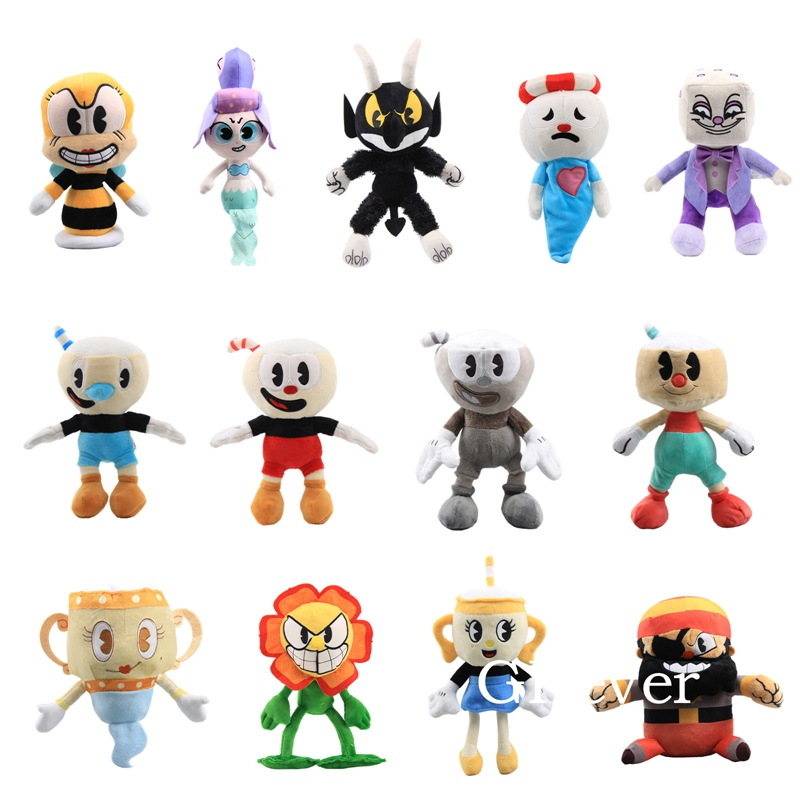 13 styles <font><b>20</b></font>-28cm Game Cuphead Plush Toys Doll <font><b>Peluche</b></font> Mugman Chalice Cagney Carnantion Teacup Head Adventure Toys Kids Gift image