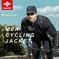 Santic  Осень-зима  мужские куртки с длинным рукавом для велоспорта  100% полиэстер  ветронепроницаемые  сохраняющие тепло  для горного велосипед...