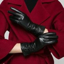 Real Leather Gloves Female Winter Plus Velvet Thicken Suede Warm Slim Hand Fashion Simple Goatskin Womans K902
