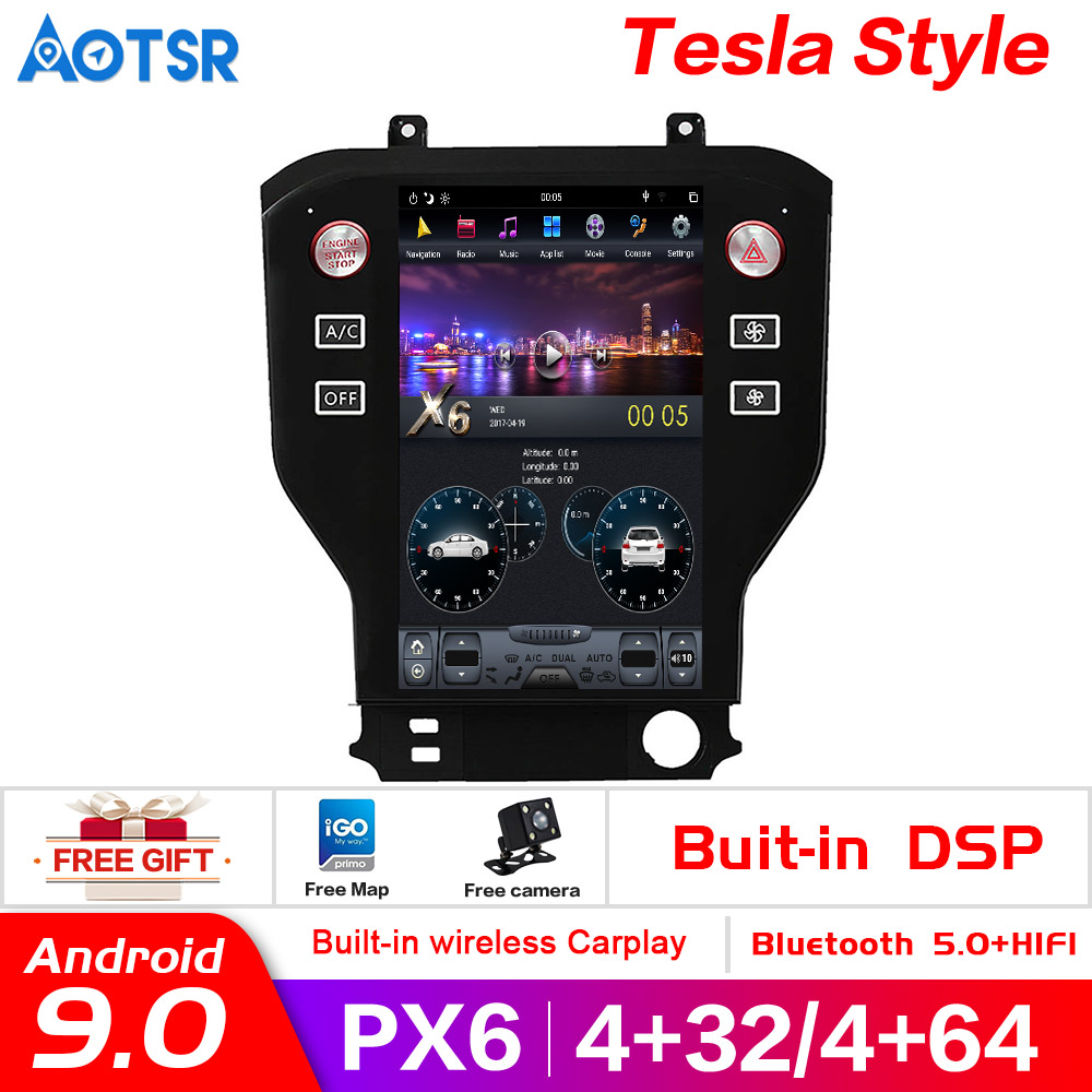 GPS Navigation Dvd-Player Satnav Stereo Tesla-Style Android9.0 Multimedin Ford-Mustang title=