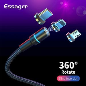 Essager Magnetic USB Cable Fast Charging Type C USB Cable For iPhone Xiaomi Mobile Phone Magnet Micro USB Type C Charge Cable