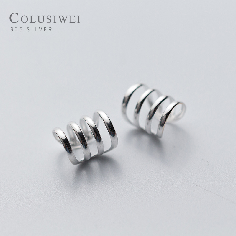 Colusiwei Authentic 100% 925 Sterling Silver Rose Simple Line Clip Earrings For Women Fashion Sterling Silver Jewelry Gift