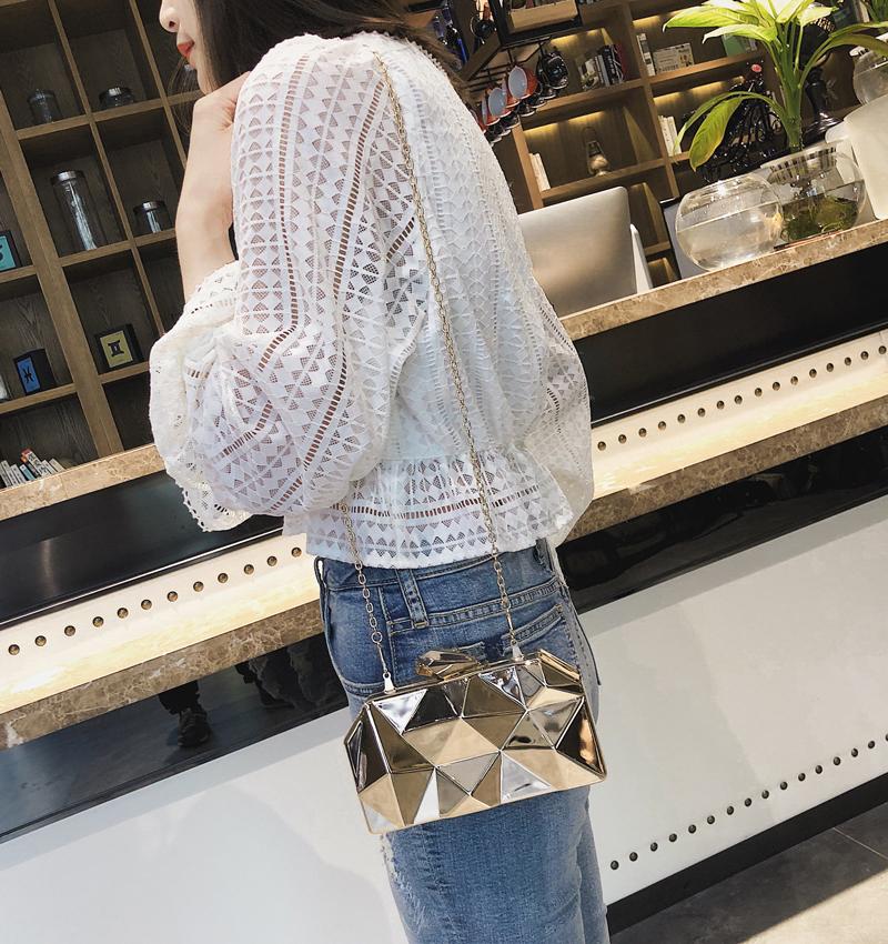 Hexagon Women Handbags Metal High Quality Clutches Fashion Geometric Mini Party Black Evening Purse Silver Bags Gold Box Clutch (11)
