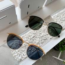 Medio marco Retro ronda ins cara redonda gafas de sol de las mujeres gafas de sol Vintage gafas conductor gafas accesorios de coche