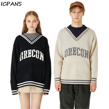 ICPANS Oversized Pullovers Sweater Men Women Couple Pacthwork Neck Korea Style Letter  Japanese Loose Sweaters Man 2019 New