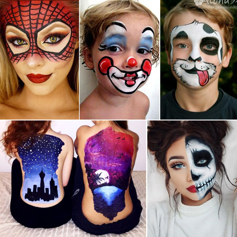 12 Colors Body Painting Play Clown Face Body Art Painting Oil Painting Tattoo Cosmetic Bodypainting Halloween Party Makeup Aliexpress