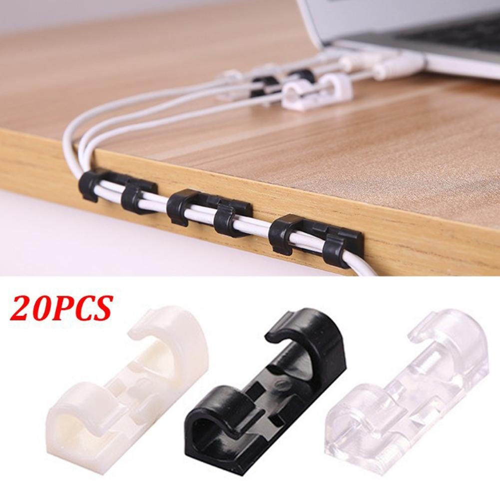 20Pcs Adhesive Data Cable Charging Wire Holder Clips Wall Desktop Cord Organizer  Peeling And Fitting, Using Adhesive Glue.