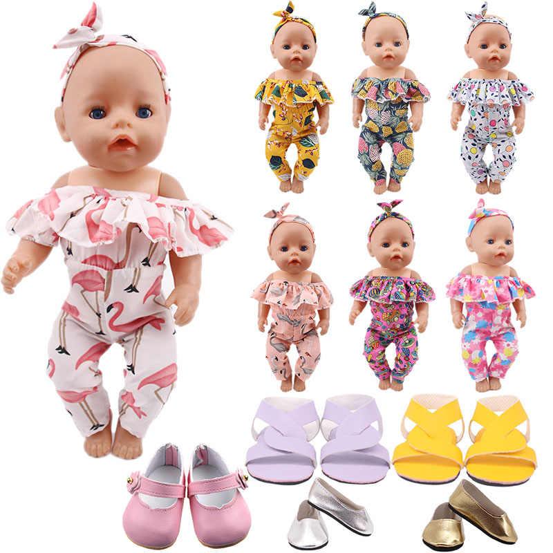 2 Stks/set = Haarband + Jurk Poppenkleertjes Fit 18 Inch Amerikaanse Pop & 43 Cm Geboren Baby Pop, onze Generatie, Meisje Speelgoed