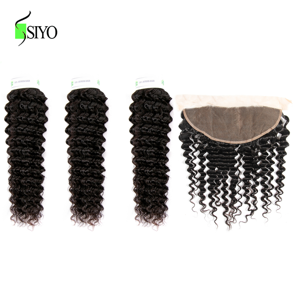 """Image 3 - Siyo Deep Wave 3 Bundles with Frontal 8 26"""" M Remy Human Hair with 13x4 Lace Frontal Malaysian Hair Bundles with Closure-in 3/4 Bundles with Closure from Hair Extensions & Wigs"""