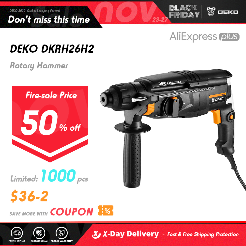 DEKO DKRH26H2 Multifunctional Rotary Hammer with BMC 6pcs Accessories Electric Demolition Hammer Impact Drill Punch Power