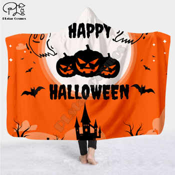 Happy halloween 3d printed Hooded Blanket Adult colorful child Sherpa Fleece Wearable Blanket Microfiber Bedding - DISCOUNT ITEM  25 OFF Home & Garden