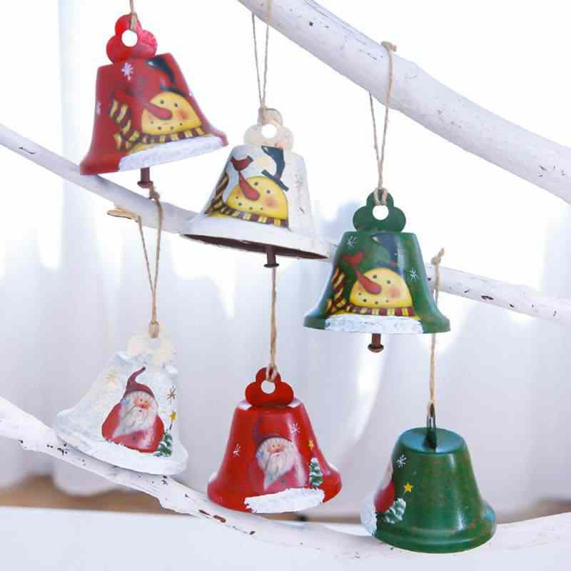 Wrought Iron Artificial Painted Christmas Bells Christmas Tree Twines Decorated Bells