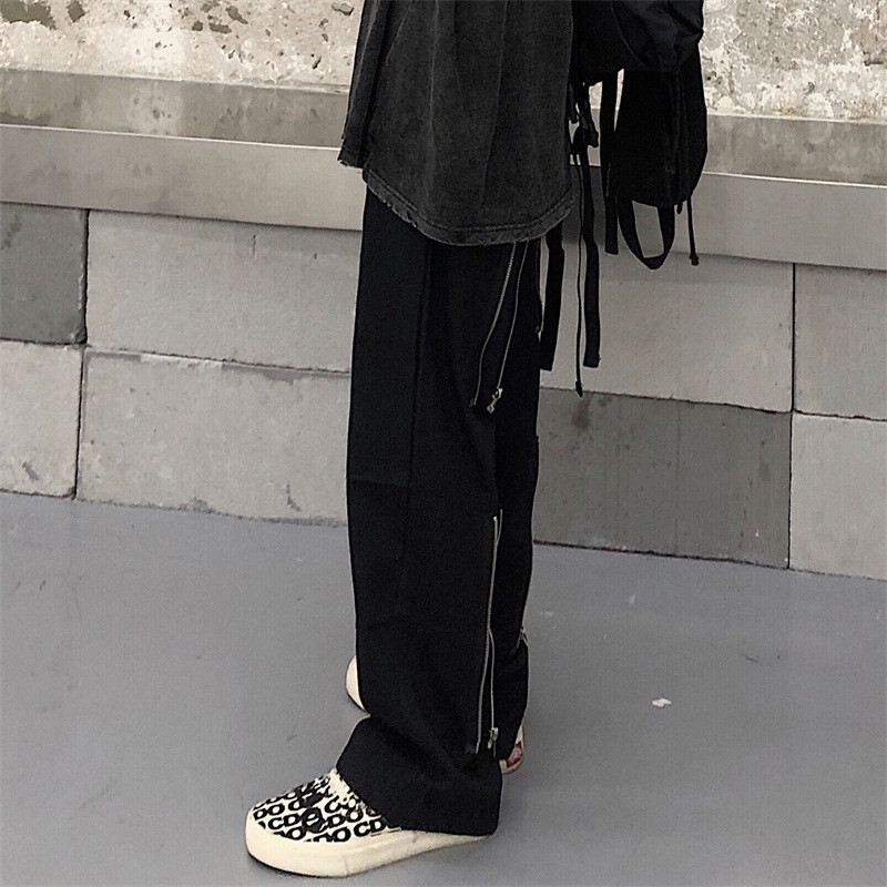 Focal20 Streetwear Solid Zipper Women Pants Casual Loose Elastic Waist Straight Leg Female Trousers Spring Autumn Lady Bottoms 3