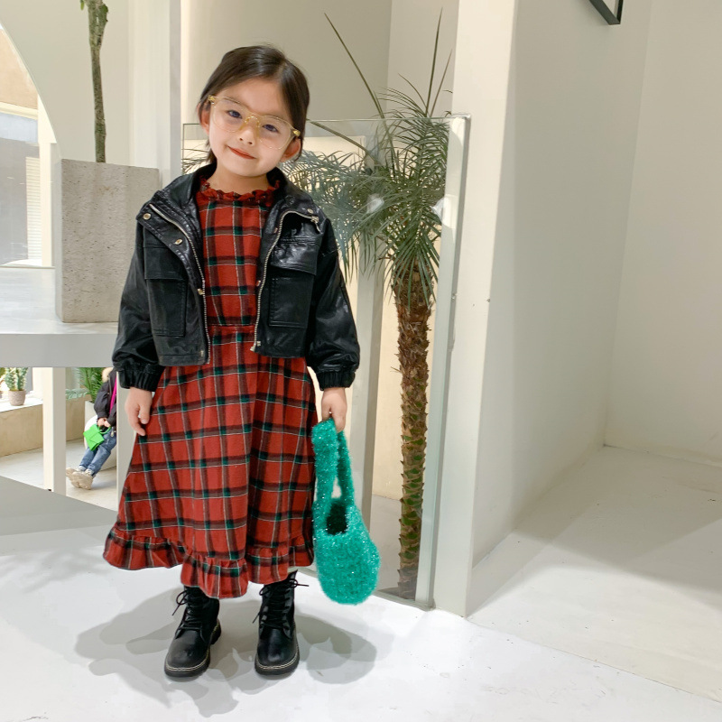 Autumn New Arrival Korean style fashion all-match fur leather long sleeve jacket with pockets for cool cute baby girls