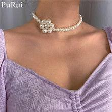Purui Kpop Imitation Pearl Choker Necklace for Women Vintage Bohemia Beads Chain Collar Wedding Party Jewelry Gift