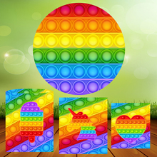 Colorful Pop It Fidget Round Circle Background Baby Shower Girl Birthday Photo Backdrop Kids Party Decor Table Plinth Covers