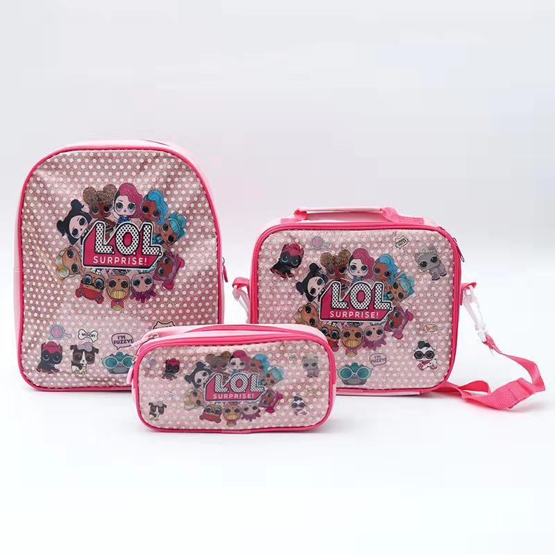 Original LOL Surprise Dolls Mochila Bag Lunch Box Pencil Box Set Children's School Cute Cartoon Anime Kids Backpack Kindergarten