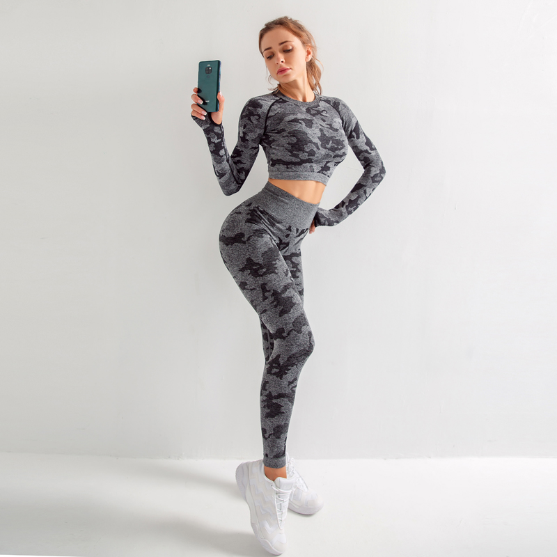 Yoga Set Women Seamless Fitness Clothing Yoga Bra Sport Long Sleeves Tops Camouflage Gym Leggings Pants Suit Workout Sportswear