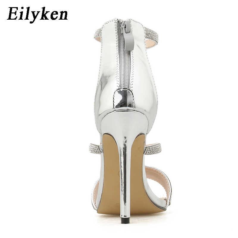 Eilyken D'argento di Cristallo Cinturino Alla Caviglia Sandali Sexy Open Toe Gladiatore Zip Tacco A Spillo Tacchi Alti Sandali Donna Pompe Più Il Size35-42