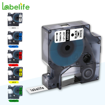 Labelife 1pcs Multicolor 45013 Compatible Dymo D1 Manager 12mm Black On White Label Tape  For Dymo Label Manager 160  280 210