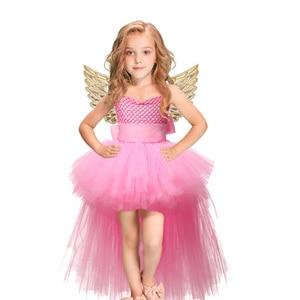 Image 5 - Halloween Unicorn Princess Dress Birthday Party Cosplay Angel Dresses Children Mesh Tutu Skirt Pink Lace Sling Costume for Girls