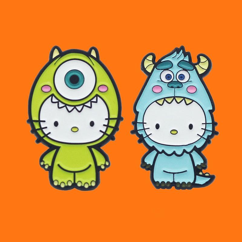 Эмалированные булавки с милым забавным котом, творческая анимация, металлический рюкзак, шляпа, сумка, воротник, лацкан, значок, мужская и же...