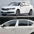 Автомобильный Стайлинг из нержавеющей стали, декоративные блестки для Skoda Octavia A7 2015-18, автомобильная полная оконная отделка, хромированные Ч...