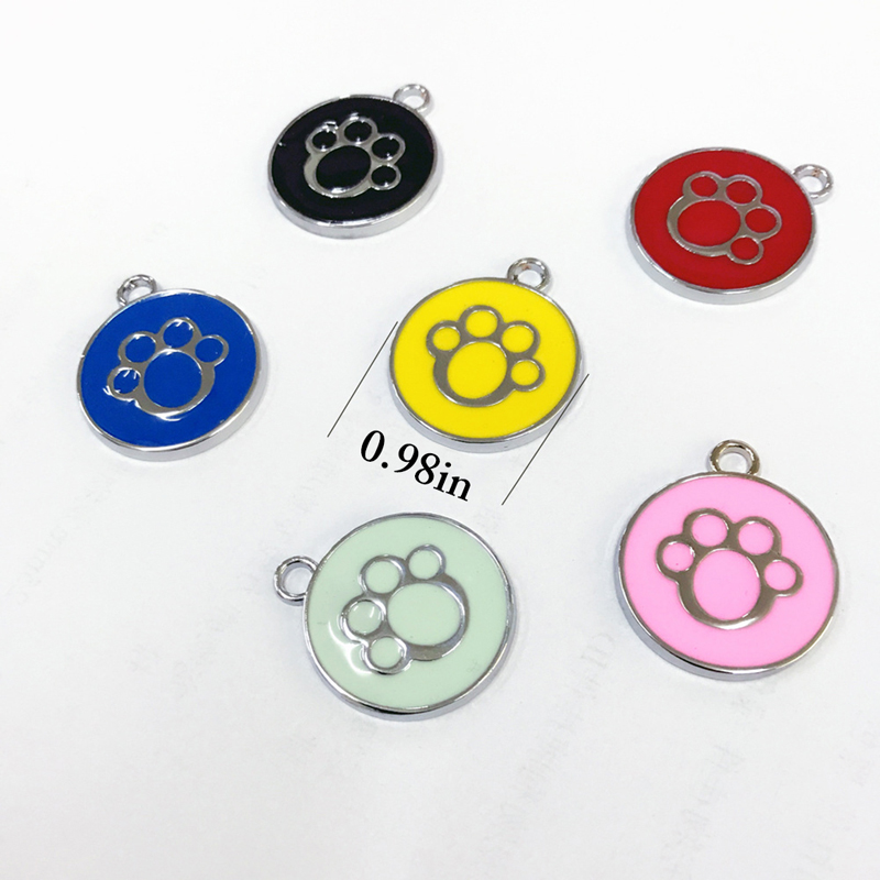 1PCS Paw Pet Tag Zinc Alloy Enameled Engravable Dog ID Tag Cat Personalized Tag Pet Necklace Collar Puppy Accessories