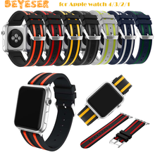 цена на Sport silicone strap band for Apple watch 4/3/2/1 42mm 38mm rubber bracelet wrist belt watchband for iwatch+ metal buckle Straps