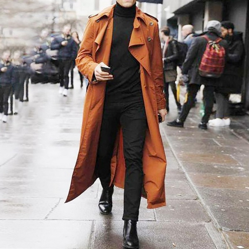 Hbcd67e33a5f04f4eb21492a77faf92e3L gentleman Long Slim Men Trench Coat Double-breasted Lapel Windbreaker Male Fashion Autumn Winter Coat Long Design Trench Male