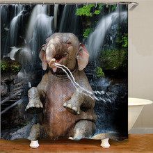 цена на New high quality elephant print shower curtain 3D polyester fabric waterproof mildew bathroom curtain shower curtain