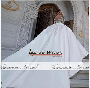 Image 2 - Zarif saten düğün elbisesi kabarık balo elbisesi desenleri
