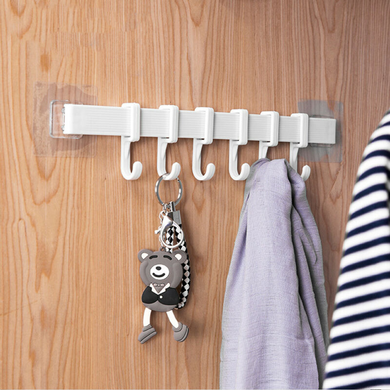34*7cm 6 Power Suction Hook Nail Free Kitchen Bathroom Seamless Wall Adjustable Rack Double Cup Strong Adhesive Hanging Hook
