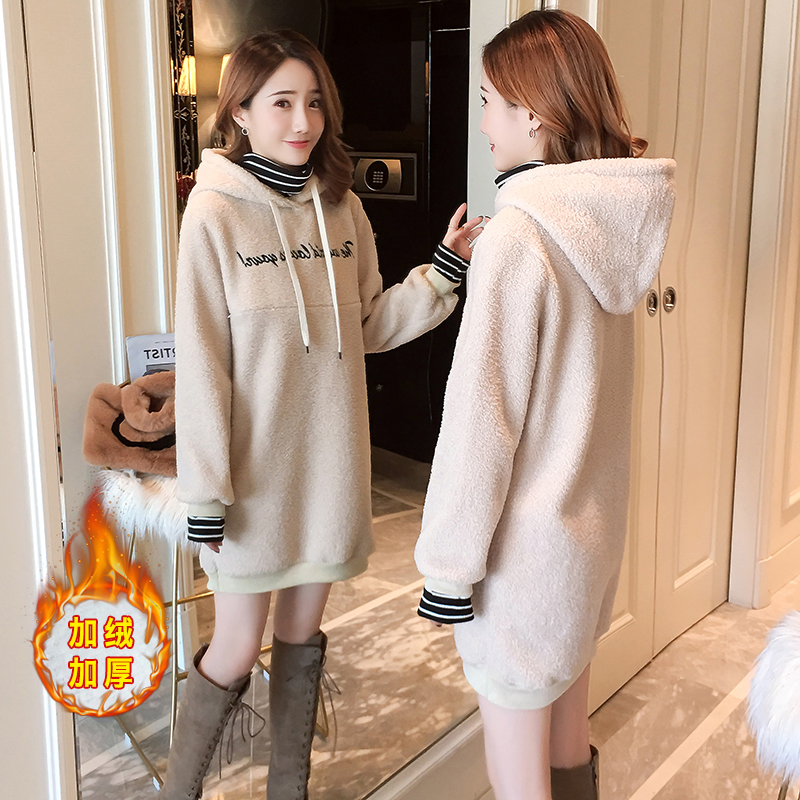 8137# Winter Korean Fashion Maternity Nursing Hoodies Warm Sweet Breast Feeding Shirts Clothes For Pregnant Women Pregnancy Tops