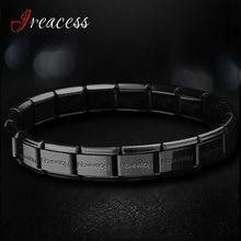 Novo aço inoxidável charme pulseiras para mulheres moda masculina preto azul ouro prata jóias corpo pulseira & pulseira