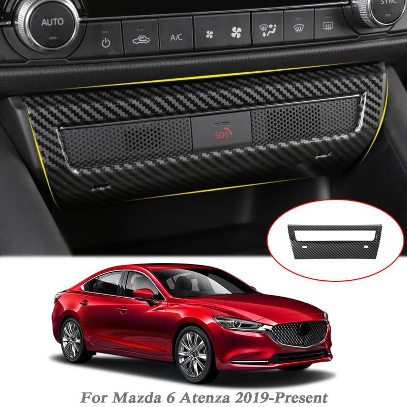 Carbon Fiber Inner Emergency danger light sequins For Mazda 6 Atenza 2017 2018