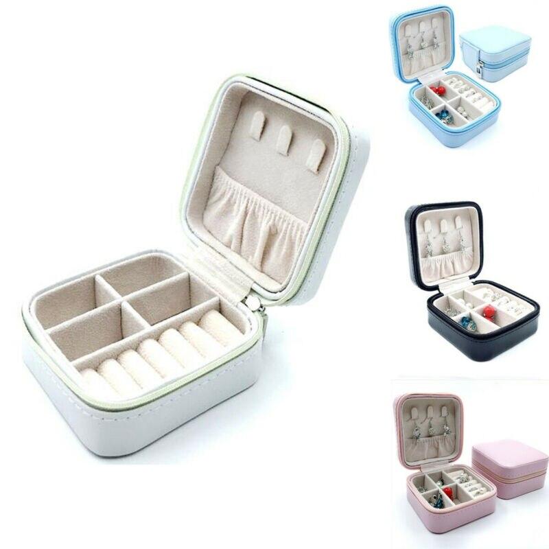 Caja de almacenamiento de joyas de viaje para mujer, caja de cuero de PU con cremallera, organizador para pendientes, anillos, joyas Mini inclinómetro Digital de 360 grados caja de nivel electrónico herramientas de medición de Base magnética
