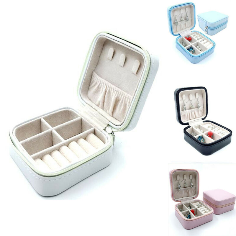 Women Travel Jewelry Storage Box Case PU Leather Zipper Boxes Organizer For Earrings Rings Jewelry