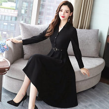 Photo Shoot Spring And Autumn Korean-style Long-sleeve Blouse Collar of Belt Slimming Black And White with Pattern Minimalist Do(China)