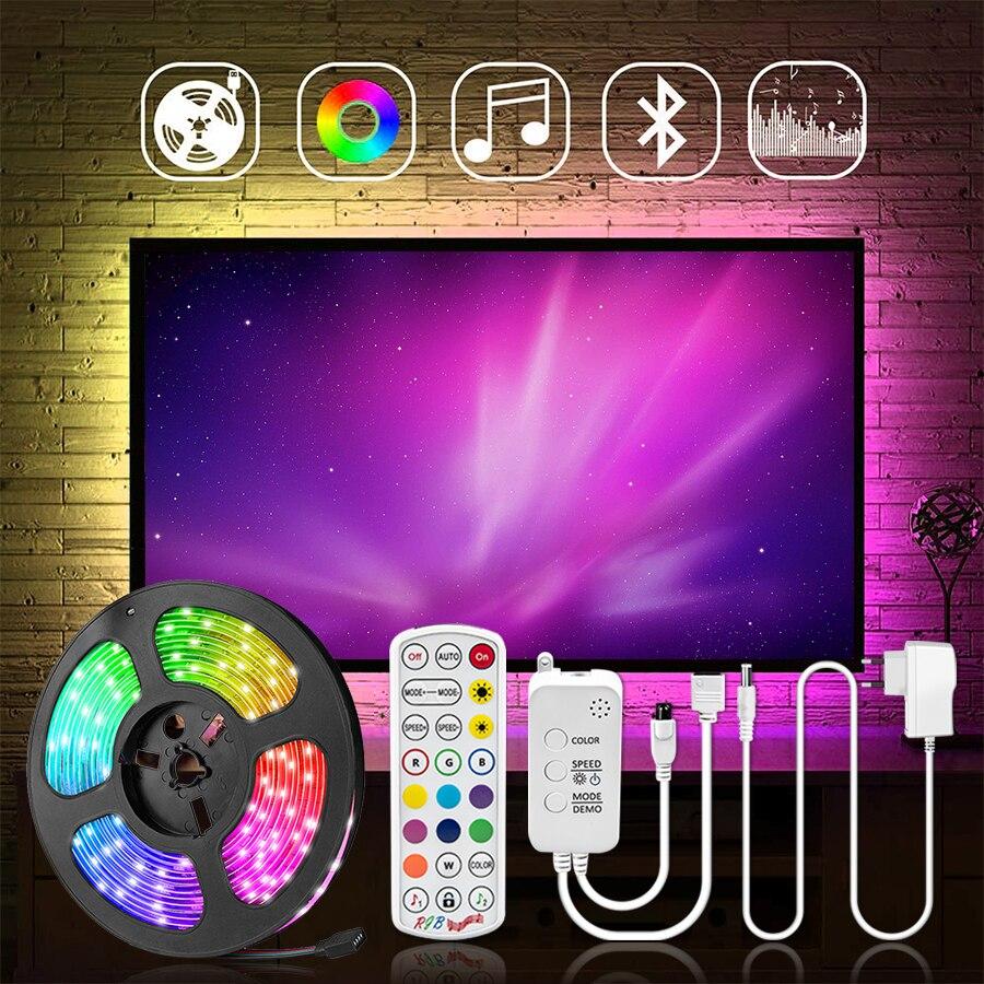 5M 10M 15M Bluetooth LED Strip Light DC12V 5050 Music Sync RGB LED Fita Waterproof Flexible Ribbon with Remote for Room Lighitng
