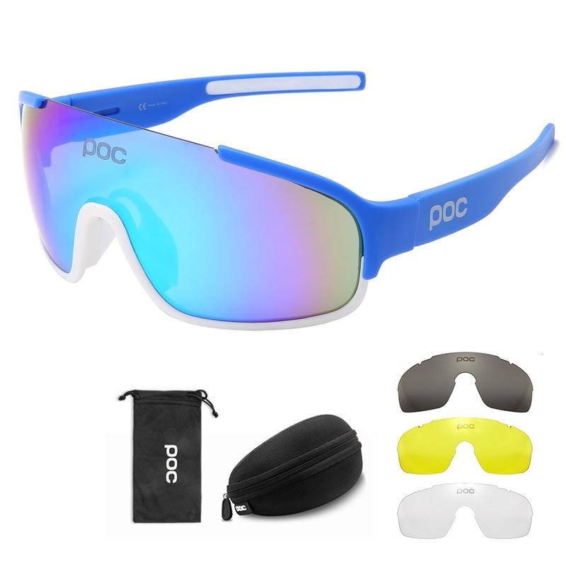 Men Women Mountain Bicycle MTB Cycle Eyewear 4 Lenses Set POC CRAVE Cycling Glasses Bike Sport Sunglasses